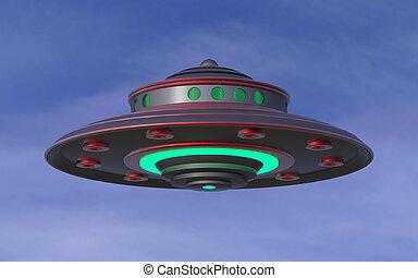 ufo, concept., extraterrestrial, spaceship., najazd, 3d