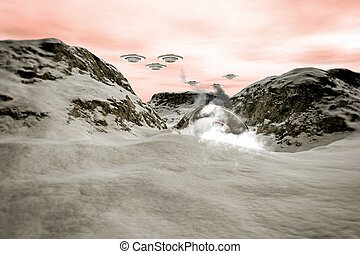 ufo crash on a mountain pick