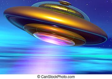 ufo, dorato, terrestre, atmosfera