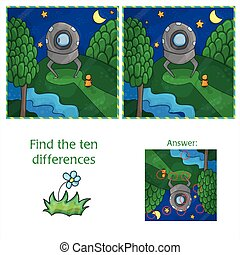 UFO Find 10 differences. Educational game for children