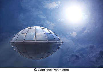 UFO flies in the cloudy sky to the sun