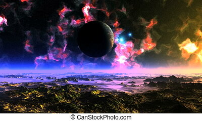 UFO Fly Around Alien Planet