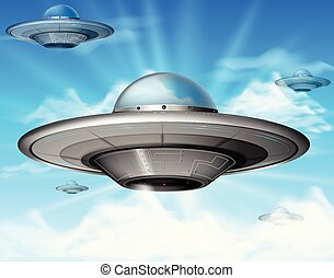 UFO flying in blue sky