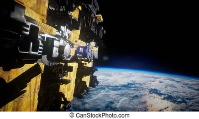 UFO Flying in the space. Elements of this image furnished by NASA.