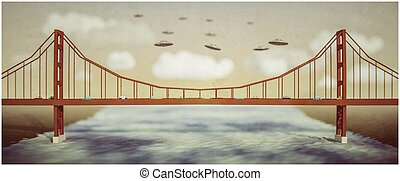 ufo flying over a famous bridge