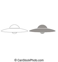 UFO. Flying saucer grey color set icon .