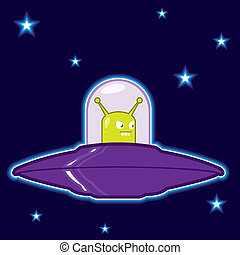 UFO flying saucer illustration - vector illustration flying...