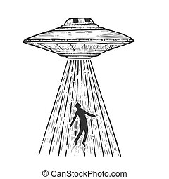 UFO Flying saucer kidnaps human person sketch line art engraving vector illustration. Scratch board style imitation. Black and white hand drawn image.