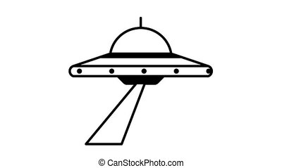 UFO flying saucer rotates and shines a beam