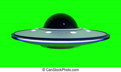 UFO Flying Saucer spaceship on green screen chroma key ...