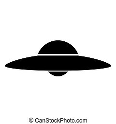 UFO. Flying saucer the black color icon .