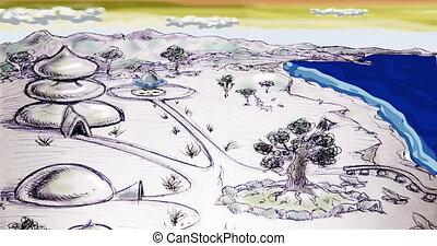 Ufo futuristic world cartoon animation - sci-fi world with...