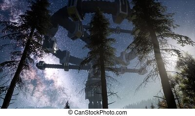 UFO hovering over a forest at night with light beam