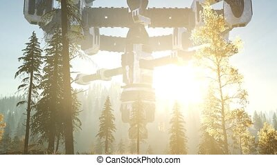 UFO hovering over a forest at sunset with light beam