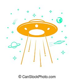 UFO icon in the starry sky