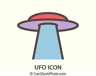 Ufo icon on a white background. Flying saucer with a beam. Alien spaceship. Vector illustration