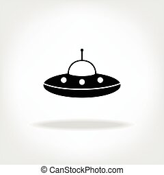 UFO Icon. UFO Flying Saucer Icon