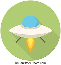UFO icon - UFO, modern flat icon with long shadow