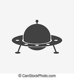 vector ufo silhouette vector alien spacecraft ufo icon in black and