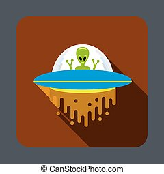 Ufo in space concept background, cartoon style