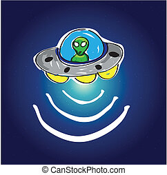 UFO in space with stars