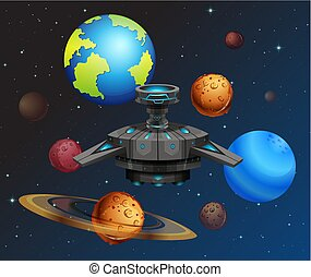 UFO in the space