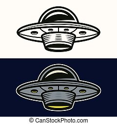 Ufo in two styles black and colored vector - Ufo in two ...