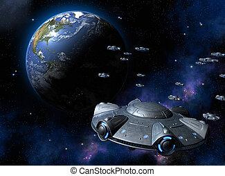 UFO attacks the Earth