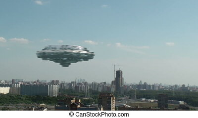 UFO is flying over the town, 3d animation