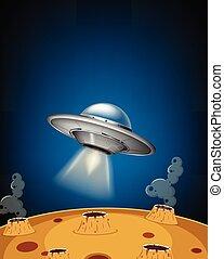UFO landing on moon surface