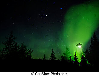 UFO Landing - UFO landing at night in the forest with trees...