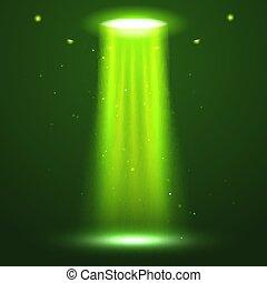 UFO light beam. Alien transport futuristic bright light in dark. UFO spaceship isolated glow effect design