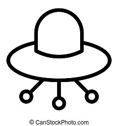UFO line icon. Alien spaceship vector illustration isolated on white. Flying ufo saucer outline style design, designed for web and app. Eps 10.