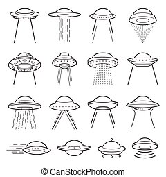 UFO logo elements. Mystical symbol paranormal phenomena, first contact, invasion of aliens
