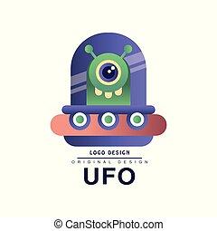 Ufo logo original design, badge with flying saucer vector Illustration on a white background