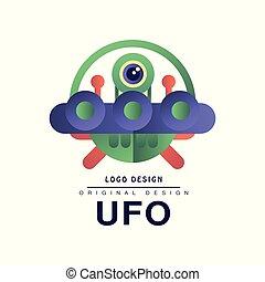 Ufo logo original design, badge with saucer and alien vector Illustration on a white background