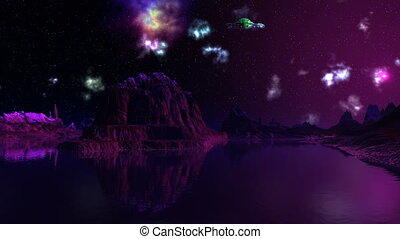 UFO, nebula and dreamscape