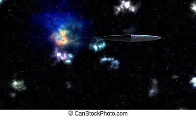 UFO. Nebula. Stars.