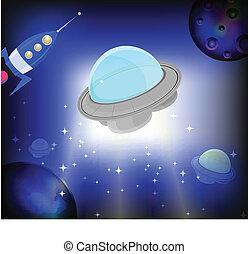 UFO on cosmic bright background