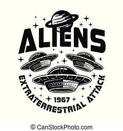UFO or spaceships vector emblem with sample text