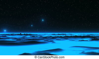 UFO over the Alien Blue Planet