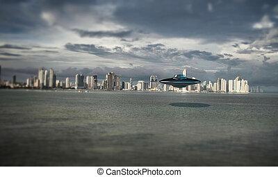 ufo over the sea