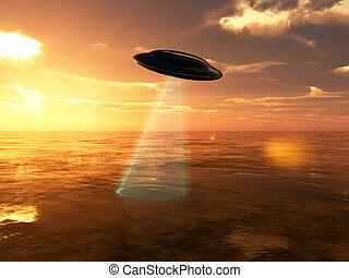 UFO Over Water - A UFO with a laser beam over the ocean, at ...