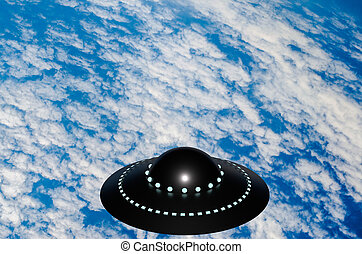 UFO over white clouds and blue surface of the Earth 3D illustration
