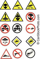 UFO road signs Vector Collection. Part 1
