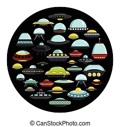 Ufo ship cartoon icons set vector illustration for design and web isolated on black circle background