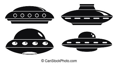 UFO ship icon set, simple style