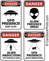 UFO ships - Set of Danger signs for UFO, aliiens abduction...
