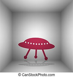 UFO simple sign. Bordo icon with shadow in the room.