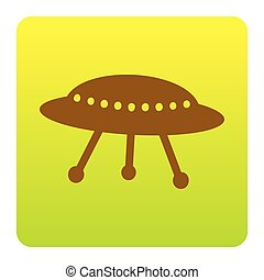 UFO simple sign. Vector. Brown icon at green-yellow gradient square with rounded corners on white background. Isolated.